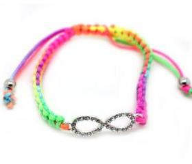 Very Rare One Direction Rainbow String Bracelet w/ Infinity Directioner Charm