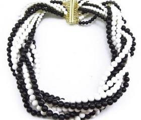 black Bohemian Multi Strands Braided Beads Chunky Bib Collar Necklace