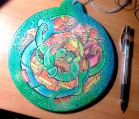 L-R Brain Harmonizer Mandala - original drawing on wood