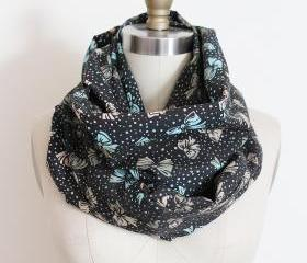 Infinity Scarf in Black with Pastel Bows and Dots Girly Circle Loop Scarf