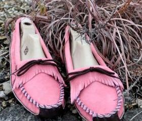 Womans Pink Moccasin with Brown Canoe Sole 