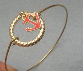 Anchor Brass Bangle Bracelet