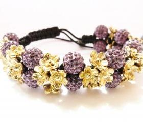 NEW Purple & Gold Flower Shamballa