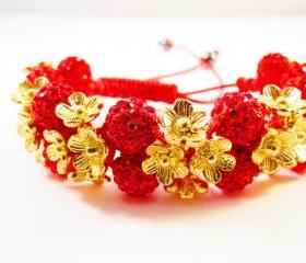 NEW Red & Gold Flower Shamballa