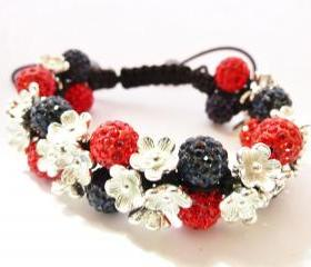 New Red & Blue Flower Shamballa Bracelet
