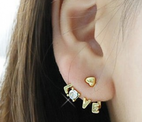 New COME Gold Metal Charm 3Colors Crystal Option Love Heart Ear Cuff Earring