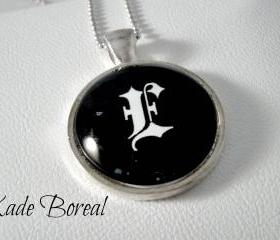 Initial E- Glass pendant necklace