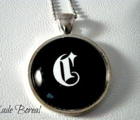 Initial C- Necklace Glass Pendant
