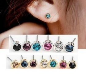 Shining more color small crystal earrings