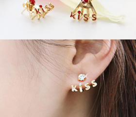 Fashion lovely diamond kiss earrings
