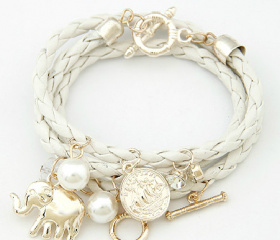 Many elements like small hang weave multilayer bracelet