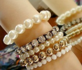 Shining diamond multi-layer hybrid pearl bracelet,J crew inspire jewelry