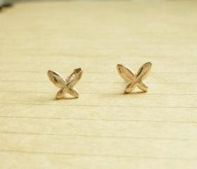 SALE - Rose Gold Small Butterfly Stud Earrings - Gift under 10