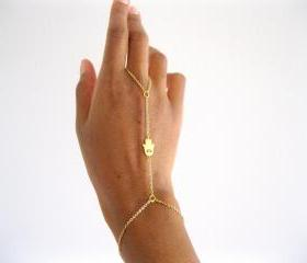 Hamsa Hand Slave Bracelet, 16k gold plated