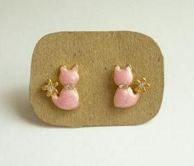 SALE - Pink Cat Stud Earrings - Gift under 10