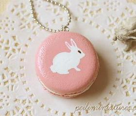 Rabbit Necklace - Pink Rabbit Macaron Necklace - Rabbit Gifts