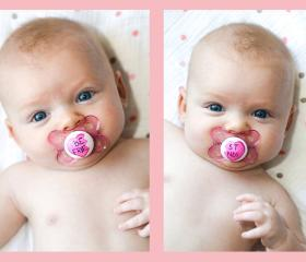 New - BEST FRIENDS - Hand Painted Pacifier Set in Pink MAM 0 to 6 Month Pacifiers
