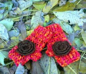 Wrist Warmers/Fingerless Gloves - With Flower Embellishment