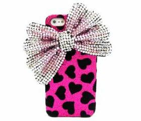 Bling Velvet Pink iphone 5 Case, Silver Pink Bow iphone 5 Case, Crystal Bow iphone 5G Case, Black Heart iphone 5G Case PS
