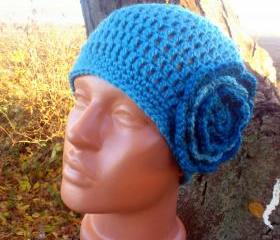 Women Knit Crochet Hat with Flower