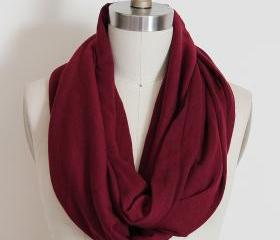 Infinity Scarf in Solid Dark Red Loop Circle