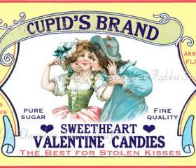 Valentine Candy Treat Vintage Label Digital Download Printable Scrapbook Cupids Brand Tag Collage Sheet