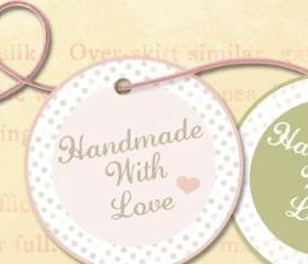 Valentine Handmade Label Tag Digital Download Printable 2 Inch Circle Image Scrapbook Collage Sheet