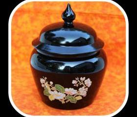 Vintage AVON Black Amethyst Cherry Blossom Ginger Jar