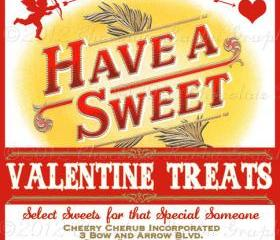 Valentine Vintage Candy Label Digital Download Have A Sweet Printable Image Scrapbook Tag Collage Sheet