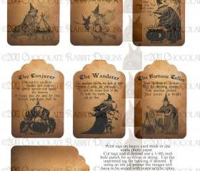 Vintage Halloween Witch Fortune Teller Tag Digital Download Printable Collage Sheet Scrapbook Image