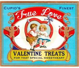 Valentine Candy Treat Vintage Label Digital Download Printable Scrapbook True Love Tag Collage Sheet