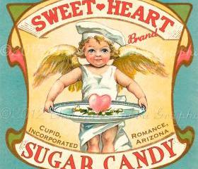 Valentine Candy Treat Vintage Label Digital Download Printable Scrapbook Sweetheart Sugar Candy Tag Collage Sheet
