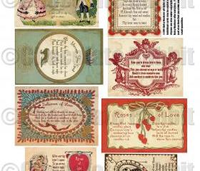 Vintage Valentine Love Spell Cards Digital Download Collage Sheet Vintage Prim Style High Resolution