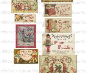 Christmas Treats Vintage Labels Download - Digital High Resolution 300 dpi - Aged Color
