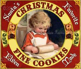 Christmas Cookies Vintage Label Tag Digital Printable Image Collage Scrapbook Sheet