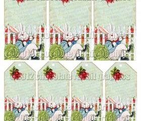 Vintage Rabbit Collage Download Digital Tag Card Scrapbook Image - Peter Rabbit in Garden