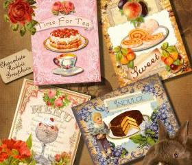 Vintage Victorian Sweets Tags Collage Sheet Digital Download Graphic Images Printable Cards