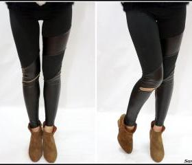 Leather patches leggings with zipper ON SALE