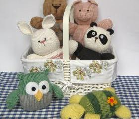 Six toy animal knitting patterns - rabbit, cat, panda, turtle, pig and owl