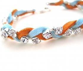 Leather and Rhinestone Bracelet, Stackable Bracelet, Powder Blue, Orange