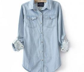 Light Blue Denim Shirt For Women