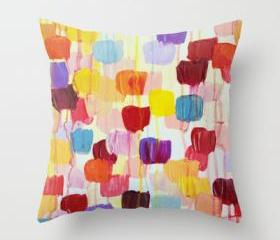 DOTTY - Original Art Throw Pillow Cover 18 x 18 inch, Bright Bold Rainbow Colorful Square Polka Dots Lovely Original Abstract Painting