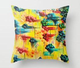HERE COMES the RAIN - Original Throw Pillow Cover 18 x 18 inch, Abstract Acrylic Painting Rain Storm Clouds Colorful Rainbow Modern Impasto