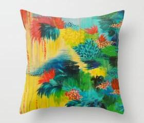 PARADISE WAITS - Beautiful Art Throw Pillow Cover 18 x 18 inch Colorful Tropical Abstract Acrylic Painting Crimson Kelly Green Lagoon