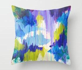 WINTER DREAMING - Original Throw Pillow Cover 18 x 18 inches, Bold Beautiful Dreamy Color Abstract Painting Modern Stylish Home Decor