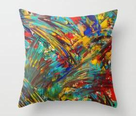 FIREWORKS in COLOR - Original Throw Pillow Cover 18 x 18 inch Bold Colorful OOAK Painting Design Home Modern Decor