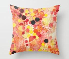PERSONAL BUBBLE - Throw Pillow Cover 18 x 18 inch Hot Pink Bubblegum Pop Fun Whimsical Circles Abstract Acrylic Painting Gift