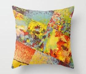 COLORFUL INDECISION 3 - Throw Pillow Cover 18 x 18 inches Wild Vivid Rainbow Abstract Acrylic Painting Mixed Pattern Pretty Art Gift