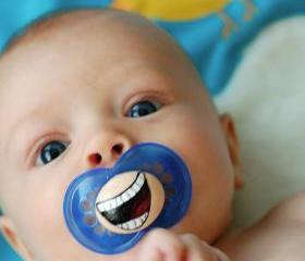 The Comedian- Custom Hand Painted Pacifier- MAM 6 to 18 Month BLUE