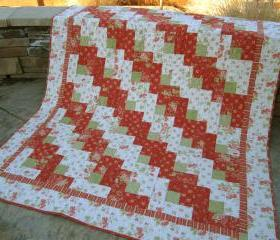 Handmade Quilt Floral Quilt, Lap Quilt, Patchwork Quilt